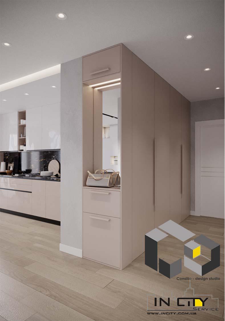 дизайн проект ремонт в прихожей и гостиной